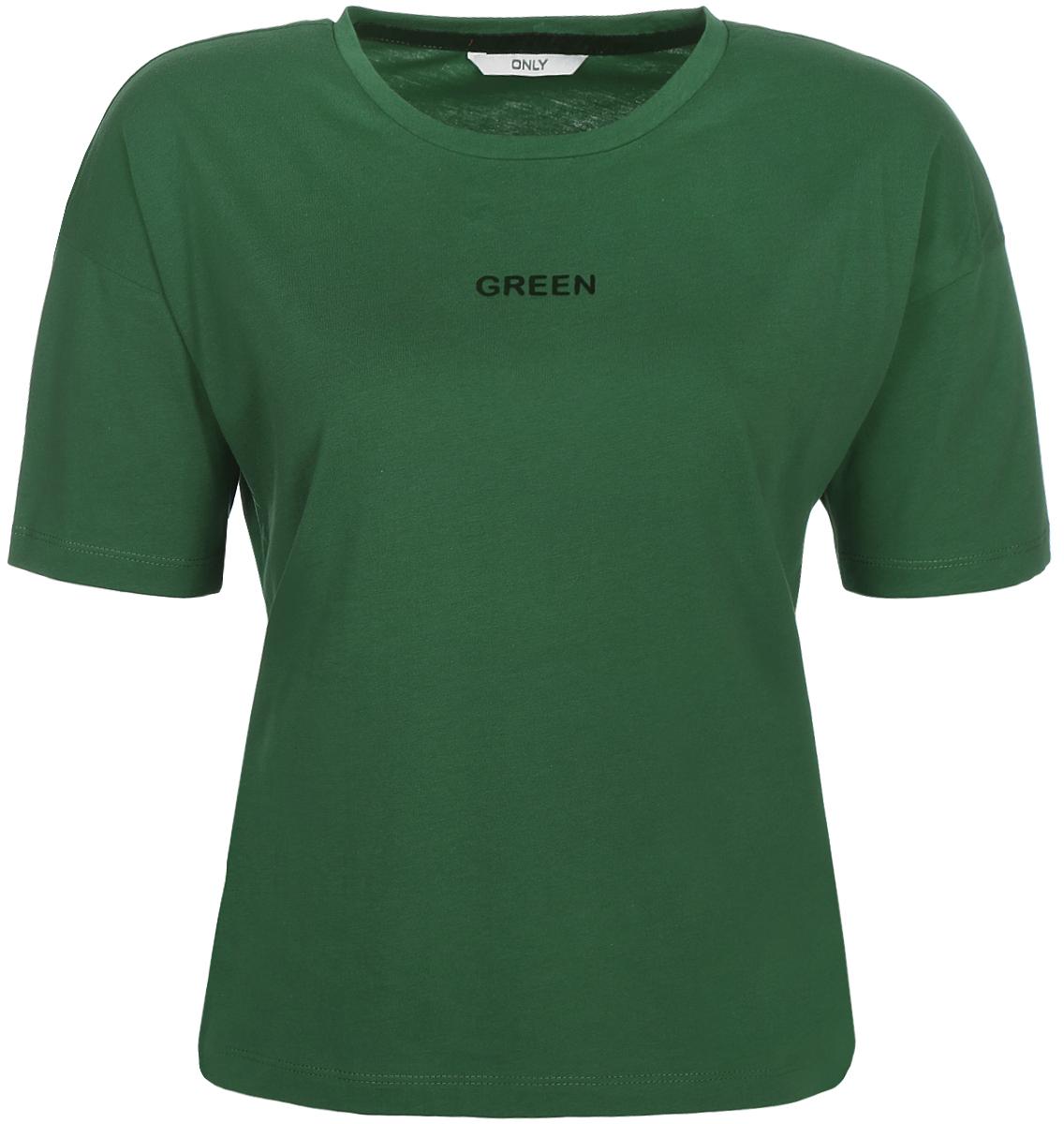 Футболка женская Only, цвет: зеленый. 15150344_Dark Green. Размер 42/44 куртка женская only цвет черный 15140836