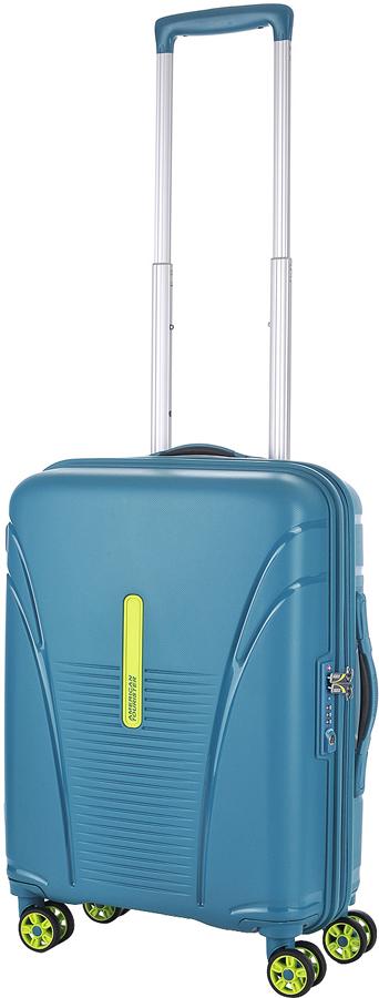 Чемодан American Tourister Skytracer, цвет: зеленый, 32 л. 22G-0400122G-04001Чемодан American Tourister Skytracer прекрасно подойдет для путешествий. Изготовлен изпрочного пластика с текстильной подкладкой.Изделие содержит продуманную внутреннююи внешнюю организацию, которая позволит аккуратно и рационально разместить ваши вещи.Имеется одно большое отделение, закрывающееся по периметру на застежку-молнию с двумябегунками. Большое отделение для хранения одежды и дополнительное отделение на молнииоснащены перекрещивающимися багажными ремнями, которые соединяются при помощипластикового карабина.Также внутри имеется сетчатый карман на молнии. Такая организация позволяет удобноразложить вещи и избежать их сминания.Для удобной перевозки чемодан оснащен четырьмя маневренными колесами, которыеобеспечивают легкость перемещения в любом направлении. Телескопическая ручка выдвигаетсянажатием на кнопку и фиксируется нескольких положениях. Сверху и сбоку предусмотреныудобные ручки для поднятия чемодана.Чемодан оснащен кодовым замком TSA, который исключает возможность взлома. Отверстие вкодовом замке предназначено для работников таможни (открытие багажа для досмотра безприсутствия хозяина). Ключ находится только у таможни. Чемодан American Tourister Skytracer идеально подходит для поездок и путешествий. Онвместит все необходимые вещи и станет незаменимым аксессуаром во время поездок.