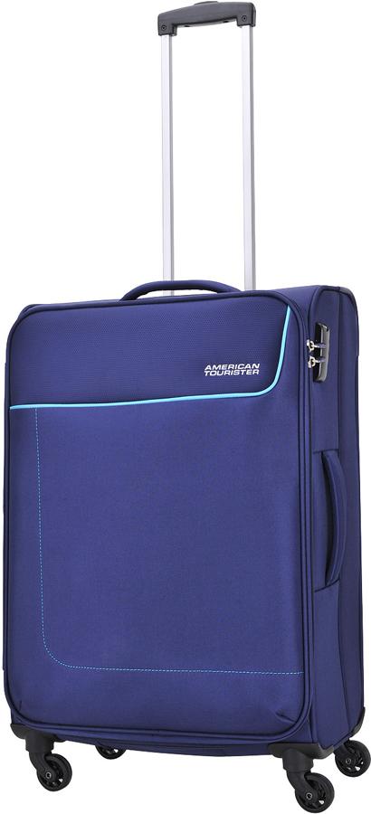 Чемодан American Tourister Funshine, цвет: синий, 63,5 л. 20G-0100320G-01003Чемодан American Tourister Funshine прекрасно подойдет для путешествий. Изготовлен изпрочного текстильного материала.Изделие содержит продуманную внутреннюю и внешнююорганизацию, которая позволит аккуратно и рационально разместить ваши вещи.Имеетсяодно большое отделение, закрывающееся по периметру на застежку-молнию с двумя бегунками.Большое отделение оснащено перекрещивающимися багажными ремнями, которые соединяютсяпри помощи пластикового карабина.Также внутри имеется сетчатый карман на молнии. Такаяорганизация позволяет удобно разложить вещи и избежать их сминания.Для удобной перевозки чемодан оснащен четырьмя маневренными колесами, которыеобеспечивают легкость перемещения в любом направлении. Телескопическая ручка выдвигаетсянажатием на кнопку и фиксируется нескольких положениях. Сверху и сбоку предусмотреныудобные ручки для поднятия чемодана.Чемодан оснащен кодовым замком TSA, который исключает возможность взлома. Отверстие вкодовом замке предназначено для работников таможни (открытие багажа для досмотра безприсутствия хозяина). Ключ находится только у таможни. Чемодан American Tourister Funshine идеально подходит для поездок и путешествий. Онвместит все необходимые вещи и станет незаменимым аксессуаром во время поездок.
