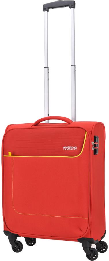 Чемодан American Tourister Funshine, цвет: красный, 36 л. 20G-0000220G-00002Чемодан American Tourister Funshine прекрасно подойдет для путешествий. Изготовлен из прочного текстильного материала.Изделие содержит продуманную внутреннюю и внешнюю организацию, которая позволит аккуратно и рационально разместить ваши вещи.Имеется одно большое отделение, закрывающееся по периметру на застежку-молнию с двумя бегунками. Большое отделение оснащено перекрещивающимися багажными ремнями, которые соединяются при помощи пластикового карабина.Также внутри имеется сетчатый карман на молнии. Такая организация позволяет удобно разложить вещи и избежать их сминания.Для удобной перевозки чемодан оснащен четырьмя маневренными колесами, которые обеспечивают легкость перемещения в любом направлении. Телескопическая ручка выдвигается нажатием на кнопку и фиксируется нескольких положениях. Сверху и сбоку предусмотрены удобные ручки для поднятия чемодана.Чемодан оснащен кодовым замком, который исключает возможность взлома. Отверстие в кодовом замке предназначено для работников таможни (открытие багажа для досмотра без присутствия хозяина). Ключ находится только у таможни. Чемодан American Tourister Funshine идеально подходит для поездок и путешествий. Он вместит все необходимые вещи и станет незаменимым аксессуаром во время поездок.Как выбрать чемодан. Статья OZON Гид