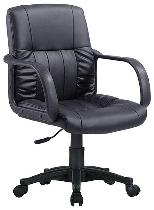 Доступное кресло для офиса и дома. Ничего лишнего: обивка из экокожи и пневматическая регулировка высоты сиденья.  Материал обивки - экокожа.  Эргономичная профилированная спинка.  Механизм Up&Down позволяет регулировать высоту сиденья кресла.  Подлокотники и пятилучие - пластиковые, повышенной прочности.  Рекомендуемая нагрузка на кресло до 100 кг.  Цвет обивки - черный.