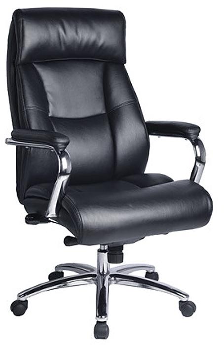 Кресло офисное Brabix Phaeton EX-502, цвет: черный530882Кресло - это уникальное сочетание комфорта и передовых технологий. Стильные хромированные элементы, увеличенные размеры сиденья и спинки, а так же особый механизм регулировки поддержки поясницы исключают утомление в течение всего рабочего дня.Обивка - натуральная кожа Люкс/экокожа - на нерабочих поверхностях.Механизм мультиблок с фиксацией в рабочем положении.Металлические хромированные подлокотники и пятилучие.Мягкие накладки на подлокотниках.Удобный подголовник и боковая поддержка спины.Просторное мягкое сидение.Рекомендуемая нагрузка на кресло до 120 кг.Цвет - черный.