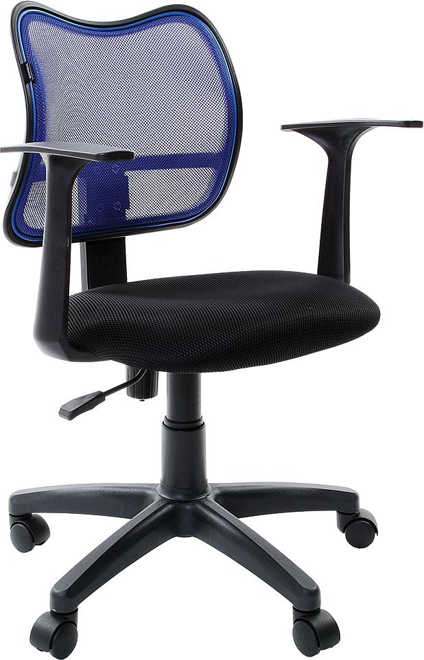 Кресло оператора Brabix Drive MG-350, цвет: черный, синий531392Современное кресло с выраженной поясничной поддержкой. Спинка выполнена из прочного материала - акриловой сетки. Материал обивки сиденья - практичная, стойкая к выцветанию мебельная ткань ST.Материал обивки спинки - прочная акриловая сетка.Рекомендуемая нагрузка на кресло до 100 кг.Пружинный механизм постоянной поддержки спины.Регулируемая высота сиденья.Подлокотники и пятилучие - пластиковые.Газпатрон - 3 категории по стандарту Germany DIN 4550.Цвет обивки - комбинация черного и синего.