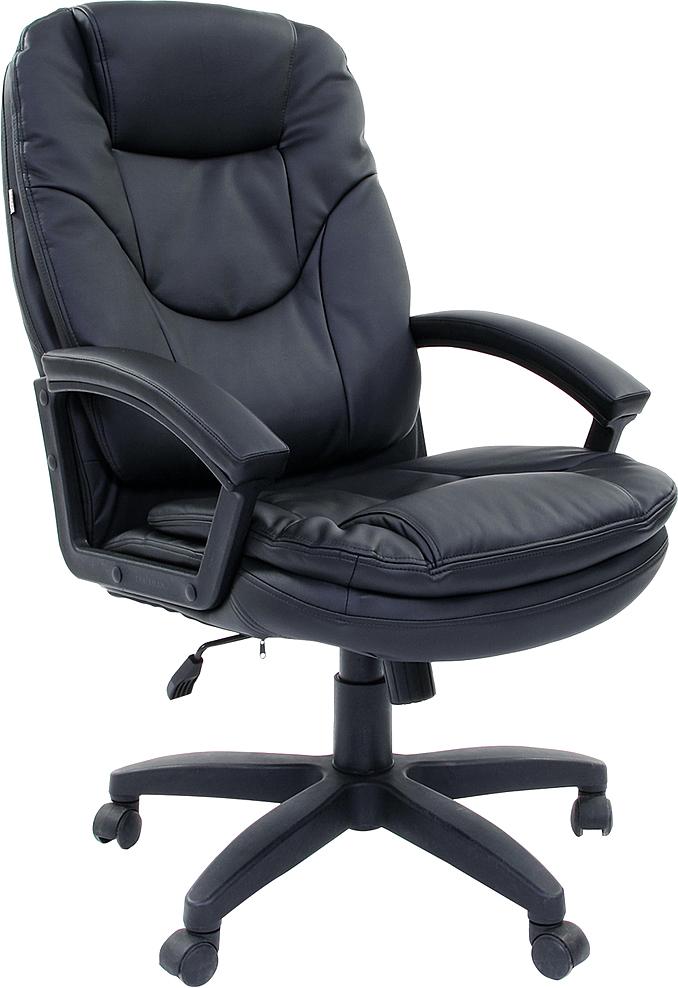 Кресло офисное Brabix Trend EX-568, цвет: черный531395Доступное, практичное кресло для офиса и дома. Модель имеет широкие комфортные сиденье и спинку с накладными подушками, а также оснащена механизмом качания.Материал обивки - искусственная кожа экокожа.Механизм качания Top-Gun с регулировкой под вес и фиксацией.Рекомендуемая нагрузка на кресло до 120 кг.Повышенный комфорт за счет накладных подушек.Подлокотники из прочного пластика с мягкими накладками.Прочное литое пластиковое пятилучие.Газпатрон - 3 категории по стандарту Germany DIN 4550.Подлокотники и пятилучие - черного цвета.Цвет обивки - черный.