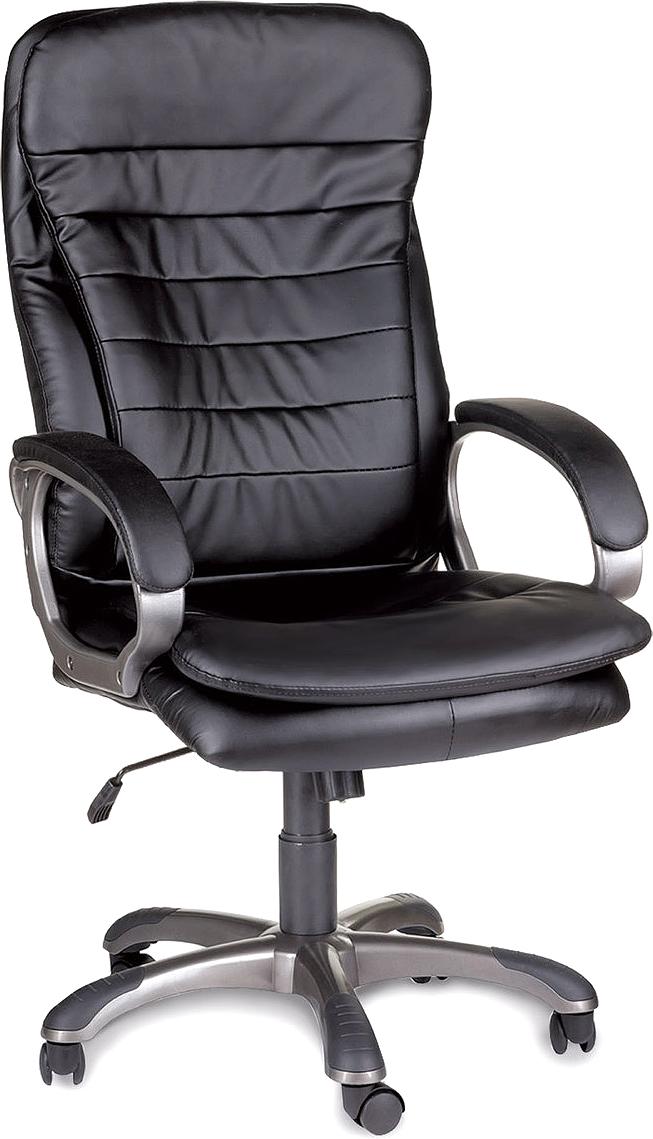 Модель имеет широкое комфортное сиденье и спинку с накладными подушками, а также оснащена механизмом качания. Доступное кресло с прекрасной эргономикой.  Материал обивки - экокожа (современный материал на хлопковой основе).  Механизм качания Top-Gun с регулировкой под вес и фиксацией.  Рекомендуемая нагрузка на кресло до 120 кг.  Эргономичная конструкция спинки, с поясничной поддержкой.  Подлокотники из прочного пластика с мягкими накладками.  Прочное литое пластиковое пятилучие, с резиновыми вставками.  Подлокотники и пятилучие - серого цвета.  Цвет обивки - черный.