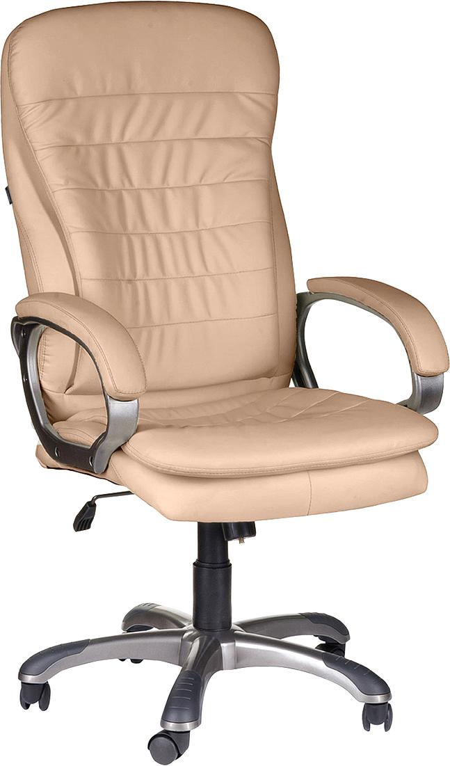 Кресло офисное Brabix Omega EX-589, цвет: песочный531402Модель имеет широкие комфортные сиденье и спинку с накладными подушками, а также оснащена механизмом качания. Доступное кресло с прекрасной эргономикой.Материал обивки - экокожа (современный материал на хлопковой основе).Механизм качания Top-Gun с регулировкой под вес и фиксацией.Рекомендуемая нагрузка на кресло до 120 кг.Эргономичная конструкция спинки, с поясничной поддержкой.Подлокотники из прочного пластика с мягкими накладками.Прочное литое пластиковое пятилучие, с резиновыми вставками.Подлокотники и пятилучие - серого цвета.Цвет обивки - черный.