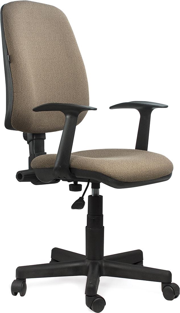 Доступное, современного кресла универсального назначения, подходящего как для офиса, так и для дома. Модель оснащена механизмом «Перманент-контакт», который позволяет регулировать наклон, высоту спинки и глубину посадки кресла.  Материал обивки - износоустойчивая мебельная ткань JP.  Механизм Up&Down позволяет подбирать нужную высоту кресла.  Регулируемая высота и угол наклона спинки.  Рекомендуемая нагрузка на кресло до 90 кг.  Подлокотники и пятилучие - пластиковые.  Цвет обивки - коричневый.