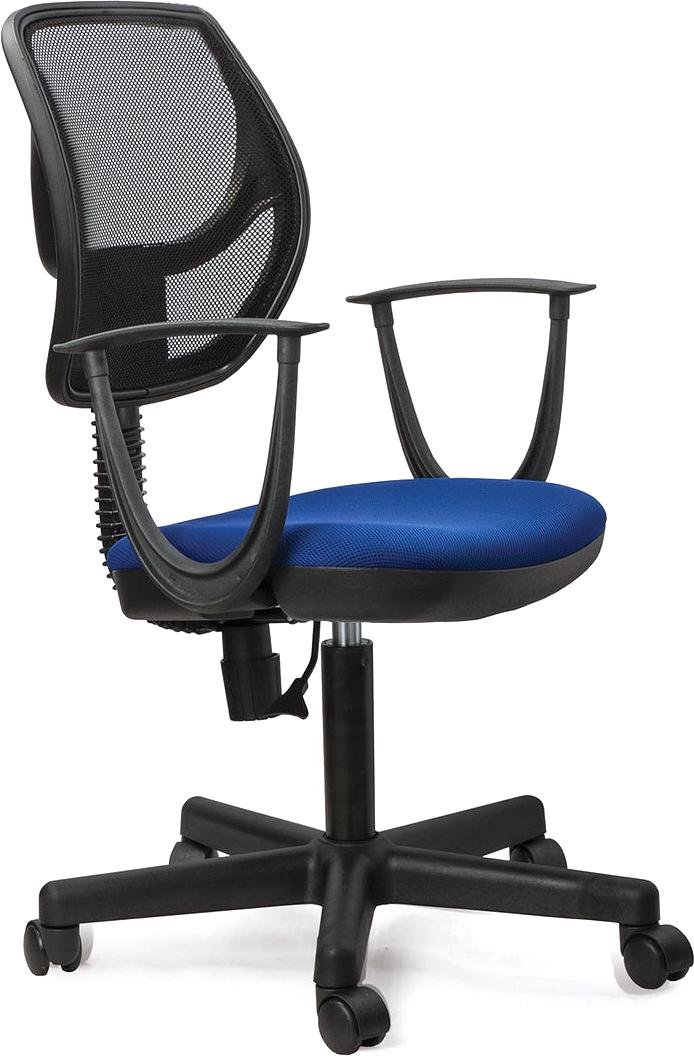 Современное и доступное операторское кресло. Легкая сетчатая спинка обеспечивает дополнительный комфорт.  Материал обивки спинки - прочная акриловая сетка.  Материал обивки сиденья - плотная, повышенной прочности ткань TW.  Рекомендуемая нагрузка на кресло до 80 кг.  Пружинный механизм постоянной поддержки спины.  Регулируемая высота сиденья.  Подлокотники и пятилучие - пластиковые.  Цвет обивки - комбинация синего и черного.