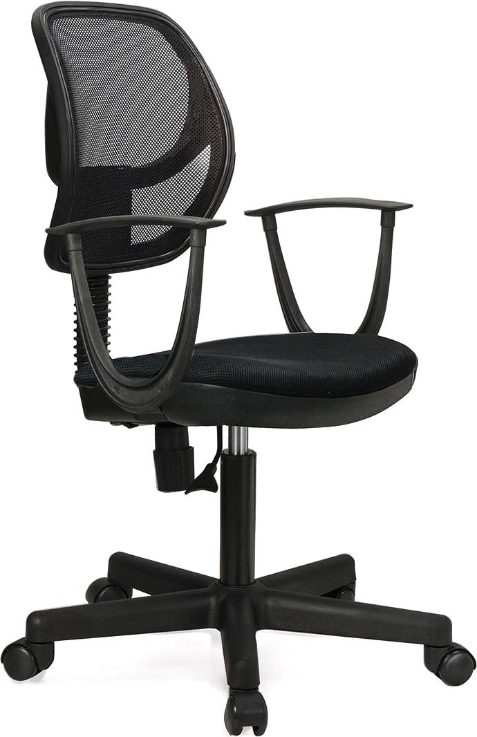 Современное и доступное операторское кресло. Легкая сетчатая спинка обеспечивает дополнительный комфорт.  Материал обивки спинки - прочная акриловая сетка.  Материал обивки сиденья - плотная, повышенной прочности ткань TW.  Рекомендуемая нагрузка на кресло до 80 кг.  Пружинный механизм постоянной поддержки спины.  Регулируемая высота сиденья.  Подлокотники и пятилучие - пластиковые.  Цвет обивки - черный.