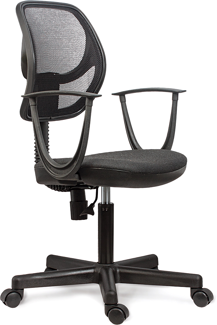 Современное и доступное операторское кресло. Легкая сетчатая спинка обеспечивает дополнительный комфорт.  Материал обивки спинки - прочная акриловая сетка.  Материал обивки сиденья - прочная ткань ST.  Рекомендуемая нагрузка на кресло до 80 кг.  Пружинный механизм постоянной поддержки спины.  Регулируемая высота сиденья.  Подлокотники и пятилучие - пластиковые.  Цвет обивки - комбинация черного и серого.