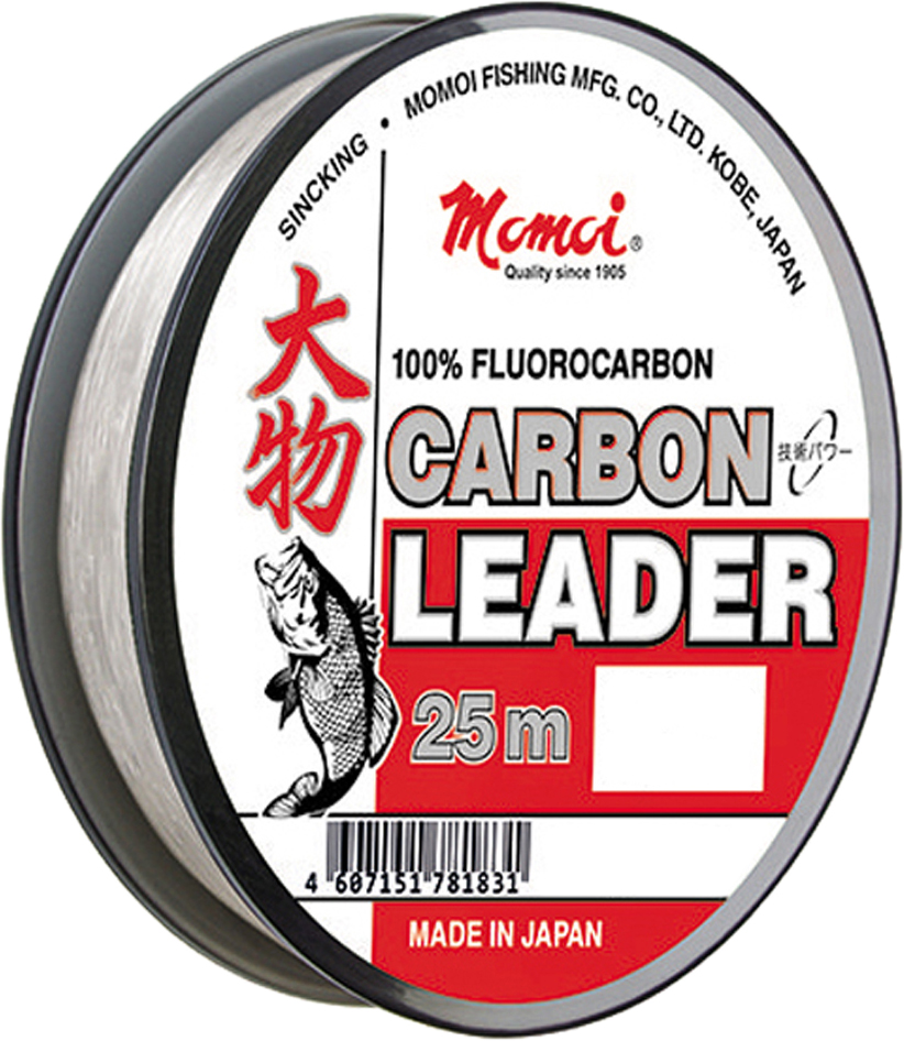 Леска зимняя Momoi Fishing Carbon Leader, флюорокарбон, 0,50 мм, 20,0 кг, 25 м