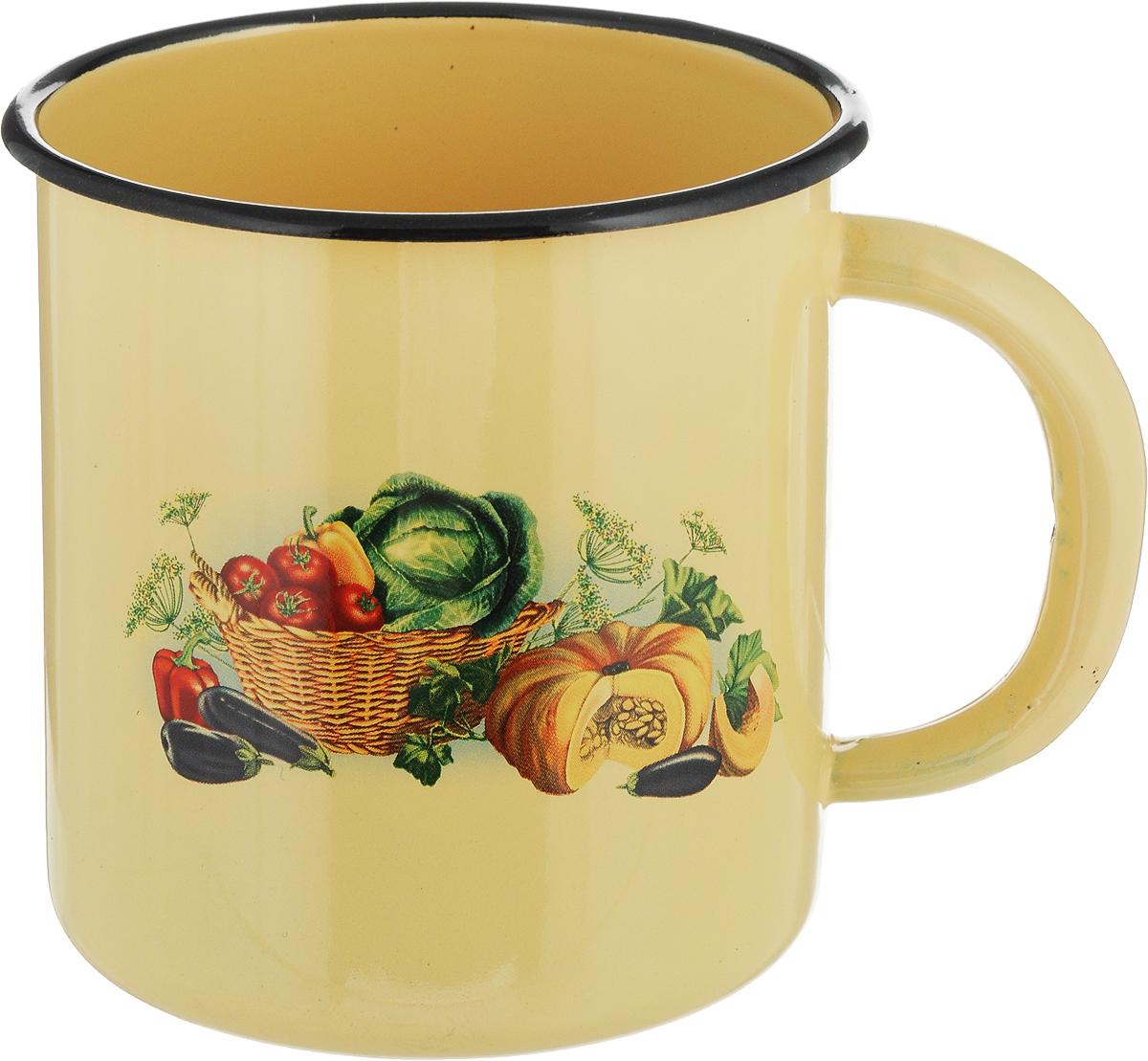 Кружка эмалированная СтальЭмаль Овощи, 1 л1с3с_овощиКружка эмалированная СтальЭмаль Овощи, 1 л