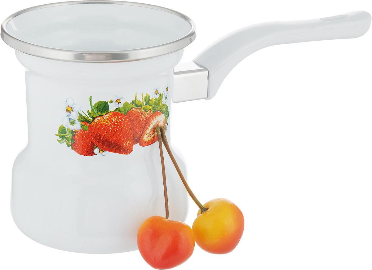 Кофеварка Лысьвенские эмали Ягоды, цветок, 0,4 л. С-4103АП/4С-4103АП/4