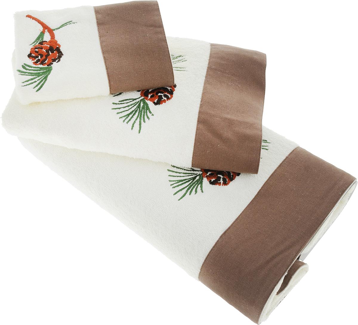 цена на Набор махровых полотенец Bravo Ботаника, цвет: кремовый, коричневый, 30 х 50 см, 45 х 90 см, 65 х 130 см