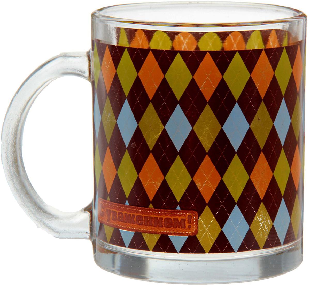 Кружка Sima-Land С уважением, 300 мл. 10480561048056Замечательный и памятный подарок на любой случай. Она создана с любовью нашими дизайнерами специально для ценителей чая. Ведь, как говорят эксперты, самый вкусный напиток - тот, который подан в стеклянной емкости. Изделие не боится высоких температур и станет чудесным подарком для себя или близких.Привнесите немного уюта в каждое чаепитие, и оно превратится в настоящую церемонию.