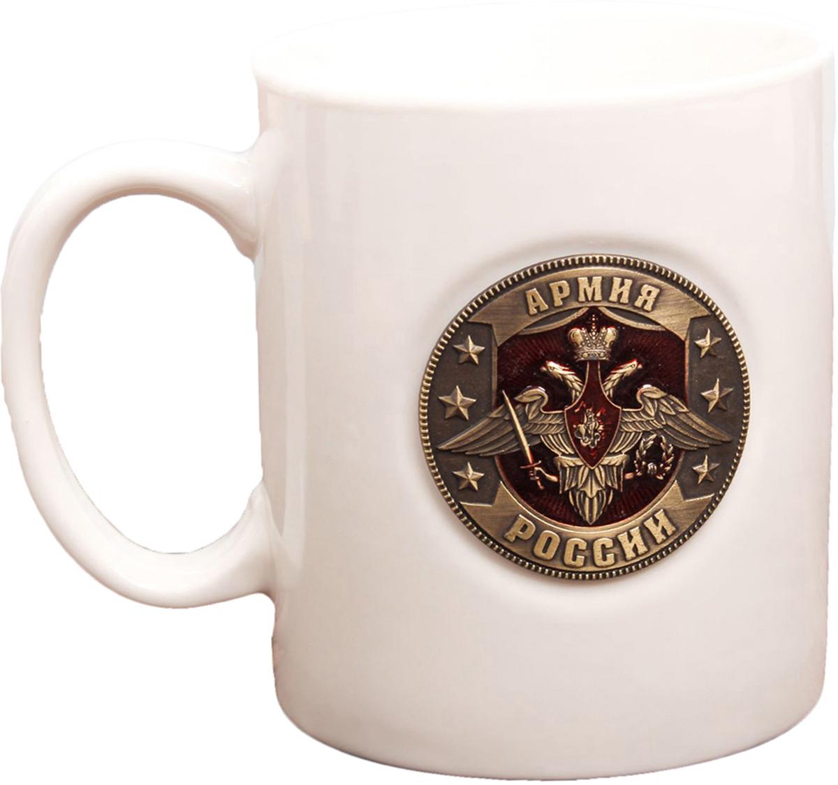 Кружка Sima-Land Армия России, 300 мл. 23937982393798Авторский дизайн, оригинальный декор, оптимальный объем - отличительные черты этой кружки. Налейте в нее горячий свежезаваренный кофе или крепкий ароматный чай, и каждый глоток будет сокрушительным ударом по врагам: сонливости, вялости и апатии!Изделие упаковано в подарочную картонную коробку.
