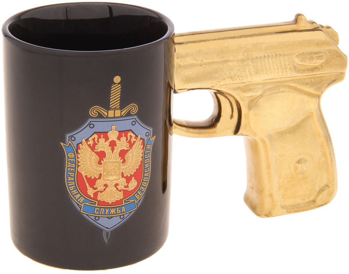 Кружка Sima-Land ФСБ, 250 мл. 472190472190Налейте в эту кружку горячий свежесваренный кофе или крепкий ароматный чай, и по врагам бодрости и хорошего настроения - сонливости, вялости, апатии - будет нанесен сокрушительный удар! Оригинальная Кружка с ручкой пистолет ФСБ с необычной ручкой в виде рукояти пистолета станет сюрпризом для мужчины с отменным чувством юмора! А ваши гости ни за что не смогут пропустить такую кружку на столике возле дивана, в кухне или на офисном столе.