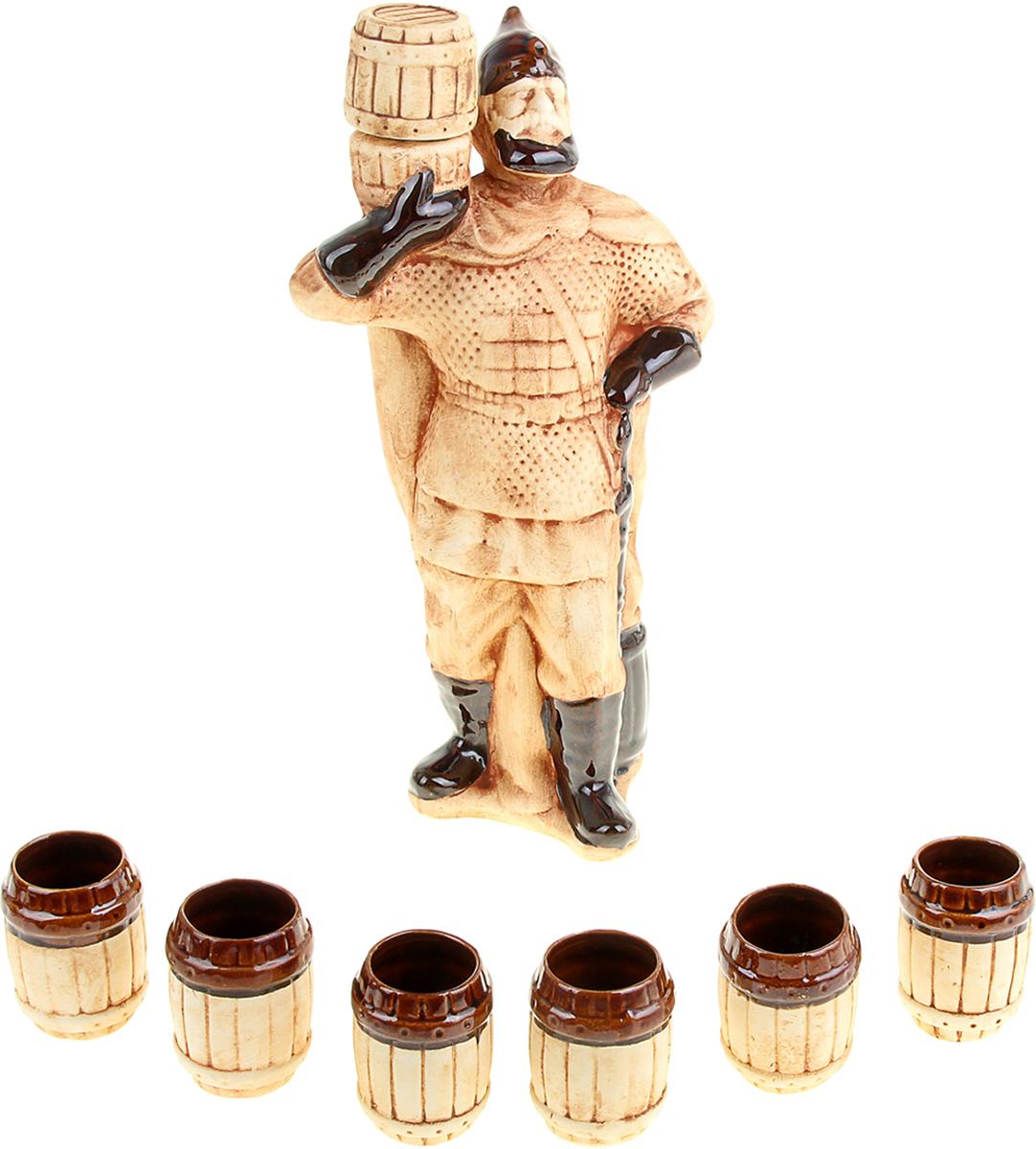 Набор винный Керамика ручной работы Богатырь, 7 предметов. 10071681007168Штоф - это сосуд для крепких спиртных напитков. Он предназначен для хранения вина, водки,коньяка и настойки. К нему прилагаются оригинальные рюмки соответствующей тематики. Набор изготовлен из керамики - прочного материала, способного сохранять температуружидкости до 4 часов, поэтому вы сможете наслаждаться охлажденными напитками даже вовремя долгих застолий. На праздничном ужине такая подача алкоголя приятно удивит ваших гостей. Кроме того, наборстанет отличным подарком для ценителей качественных спиртных напитков.