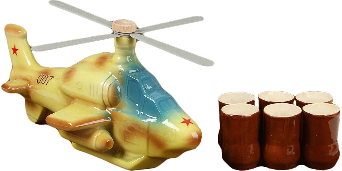 Набор винный Керамика ручной работы Вертолет, 8 предметов. 794842794842Штоф - это сосуд для крепких спиртных напитков. Он предназначен для хранения вина, водки, коньяка и настойки. К нему прилагаются оригинальные рюмки соответствующей тематики. Набор изготовлен из керамики - прочного материала, способного сохранять температуру жидкости до 4 часов, поэтому вы сможете наслаждаться охлажденными напитками даже во время долгих застолий. На праздничном ужине такая подача алкоголя приятно удивит ваших гостей. Кроме того, набор станет отличным подарком для ценителей качественных спиртных напитков.