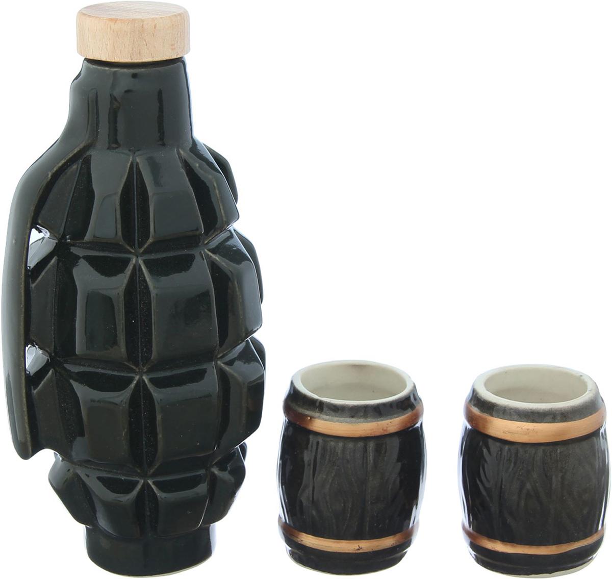 Набор винный Керамика ручной работы Граната Ф1, 3 предмета. 21743832174383Сосуд изготовлен из керамики - прочного материала, способного сохранять температуру жидкости до 4 часов. Он предназначен для хранения вина, водки, коньяка и настойки. На праздничном ужине такая подача алкоголя приятно удивит ваших гостей. Кроме этого, сувенир может стать отличным подарком для ценителей качественных спиртных напитков.