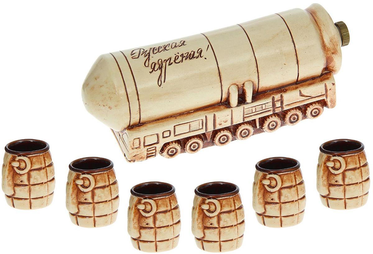 Набор винный Керамика ручной работы Тополь М, цвет: бежевый, коричневый, 7 предметов. 1123892 минибар д коньяка и водки 12 пр стекло