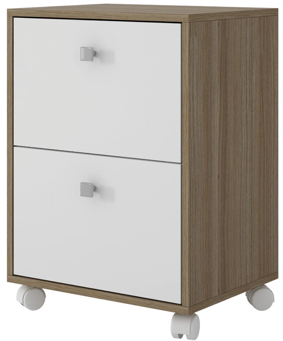 Тумба Manhattan Comfort Dream, цвет: белый, коричневыйBHO 28-47Тумба с двумя выдвижными ящиками.