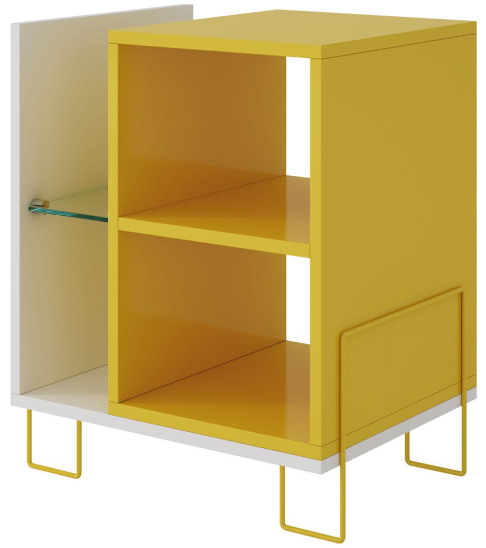 Тумба двухуровневая для гостиной и спальни со стеклянной полкой подходит для хранения журналов, книг и предметов интерьера. Металлическое основание, окрашенное в цвет тумбы. Требуется Сборка. Крепления в комплекте.