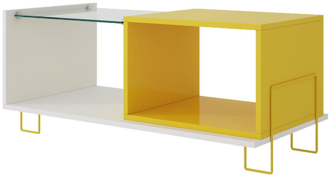 Стол журнальный Manhattan Comfort Boden, цвет: белый, желтый, 90 х 44,5 х 38,9 смBM 71-128Стильный журнальный стол Manhattan Comfort Boden, с полкой из закаленного стекла, - этофункциональный и практичный элемент мебели, который станет великолепным дополнениемвашего домашнего интерьера. Столик отлично впишется в интерьер гостиной или спальни. Онпозволит не только рационального организовать пространство, но и станетпрекрасным местом для хранения книг, цветов или ваз с фруктами.