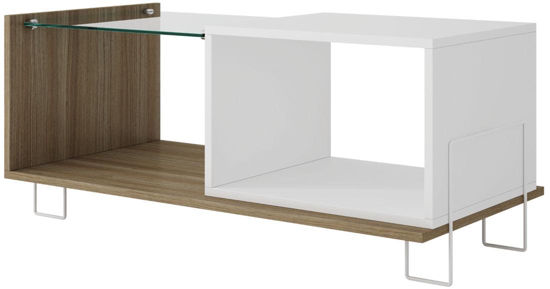 Стол журнальный Manhattan Comfort Boden, цвет: коричневый, белый, 90 х 44,5 х 38,9 смBM 71-47Стильный журнальный стол с полкой из закаленного стекла и хромированными ножками.