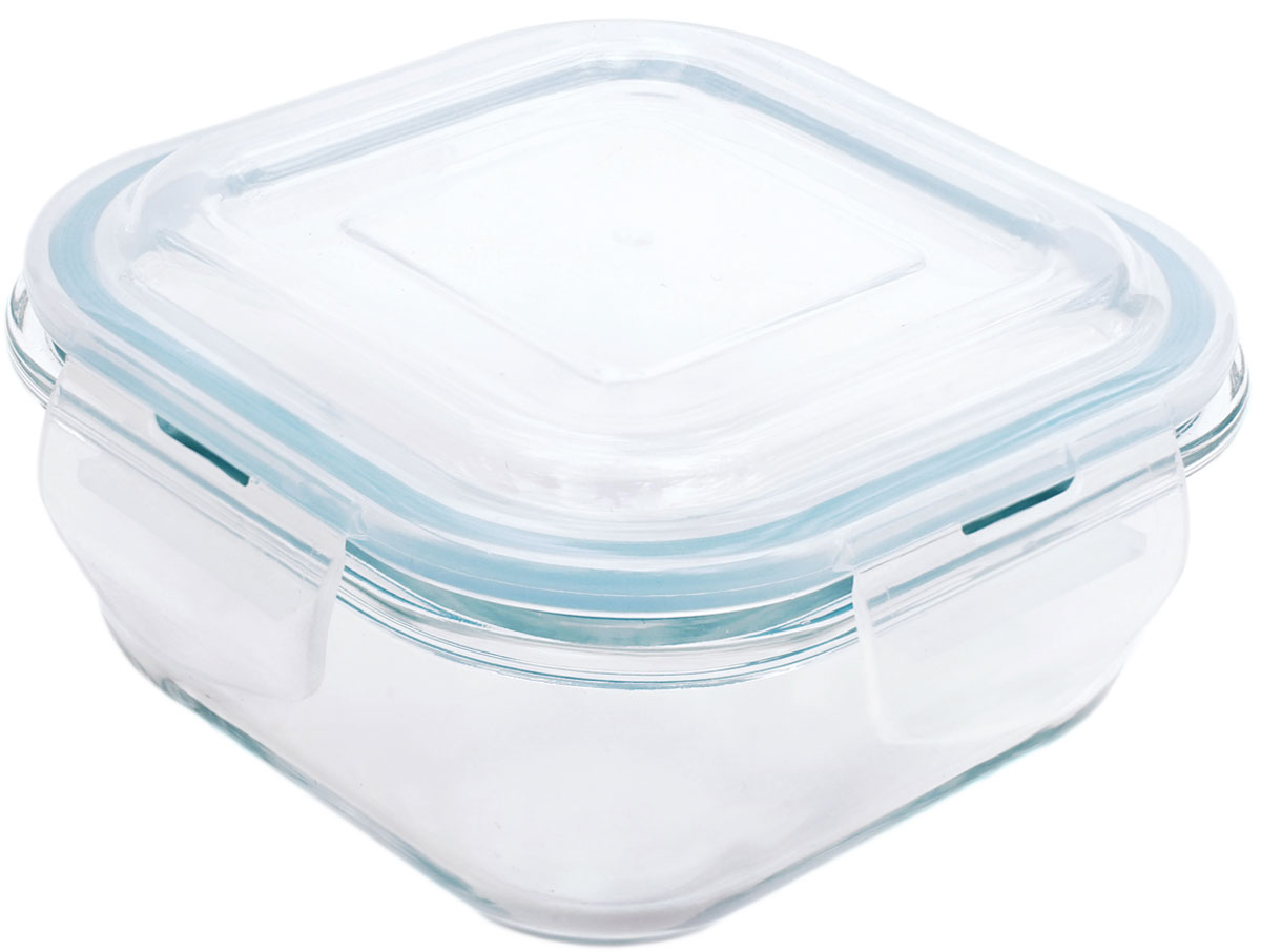 Контейнер пищевой Eley Elegant Сollection, квадратный, цвет: лазурный, 520 мл контейнер пищевой вакуумный bekker квадратный 330 мл