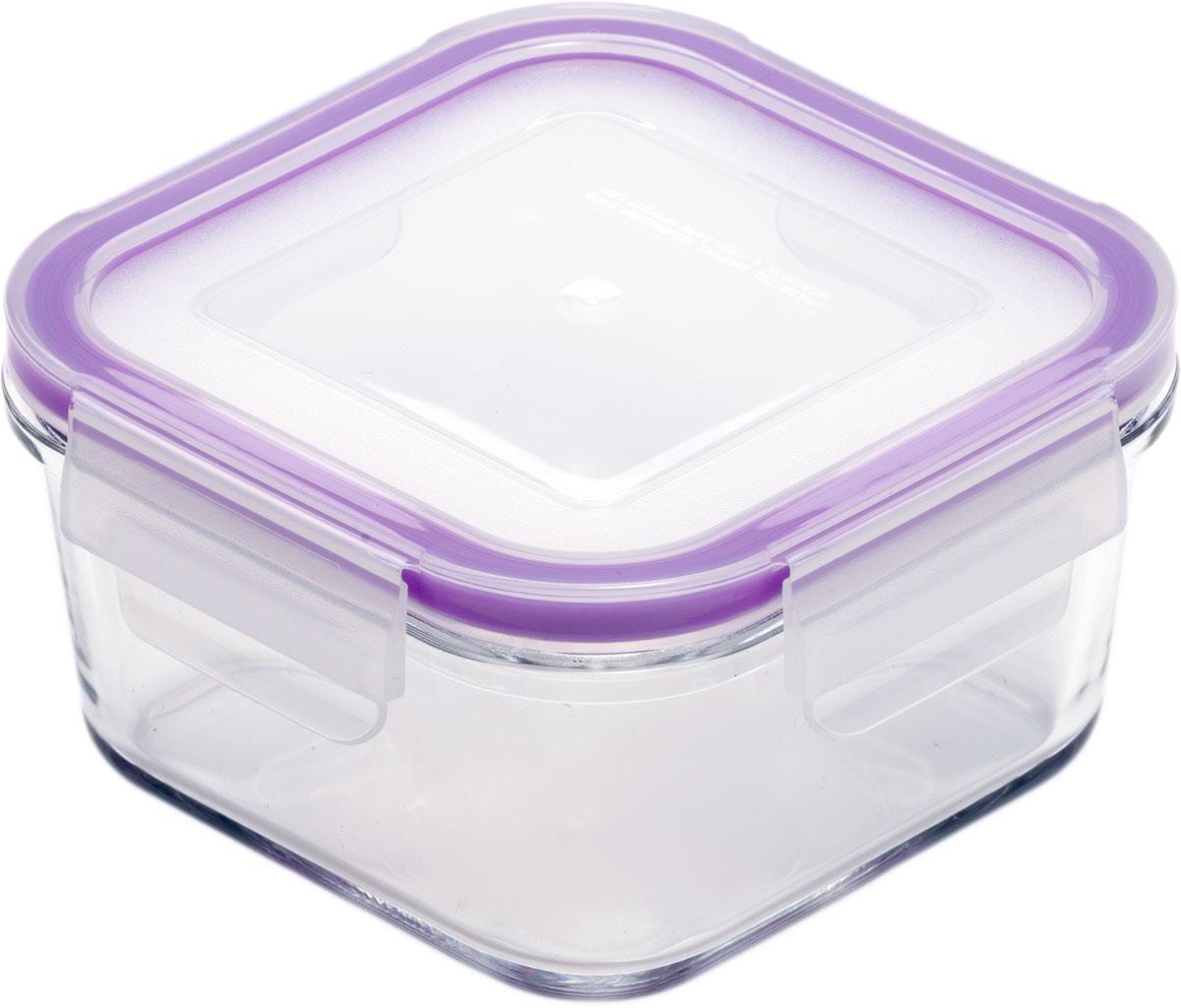 Контейнер пищевой Eley, квадратный, цвет: баклажан , 450 мл контейнер пищевой вакуумный bekker квадратный 330 мл