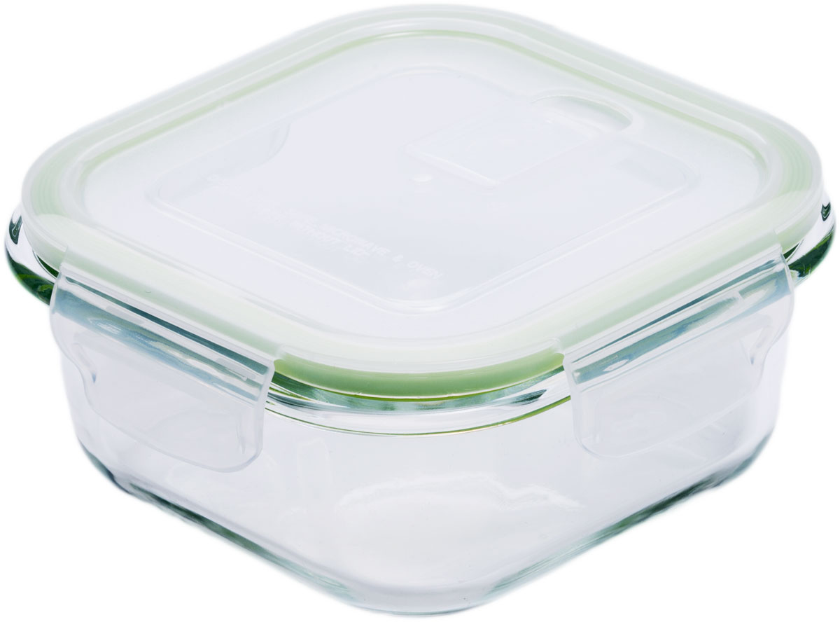 Контейнер пищевой Eley, цвет: зеленый, 800 млELP2203GКонтейнер прямоугольный Eley 800 мл пищевой из жаропрочного боросиликатного стекла.1. Подходит для использования в микроволновой печи и духовке (без крышки); 2. Подходит для использования в холодильнике и морозильной камере; 3. Подходит для использования в посудомоечной машине; 4. Можно использовать как форму для запекания (до +400 С). 5. Крышка Air Lock изготовлена из полипропилена и оснащена силиконовым уплотнителем, для обеспечения полной герметичности внутри контейнера.6. В крышку встроен вентиляционный клапан для удобства использования в холодильных и морозильных камерах.