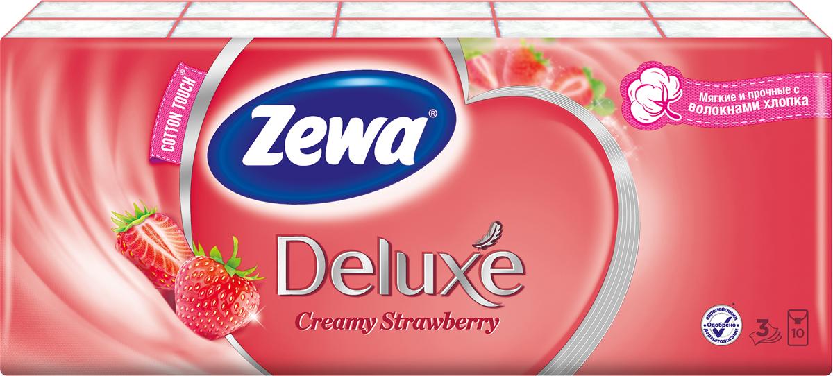 Носовые платки Zewa Deluxe. Клубника, 3 слоя, 10 х 10 шт носовые платки zewa delux 60 шт