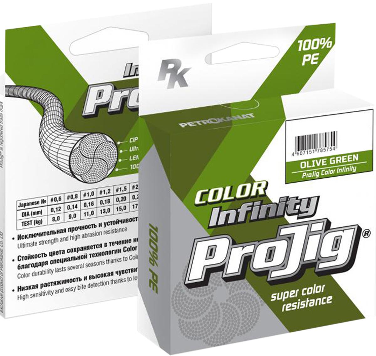 Шнур плетеный ProJig Infinity, 0,12 мм, 8,0 кг, 100 м19294Первая на российском рынке серия плетеных шнуров, которые сохраняют изначальную насыщенность и стойкость цвета после нескольких сезонов ловли.