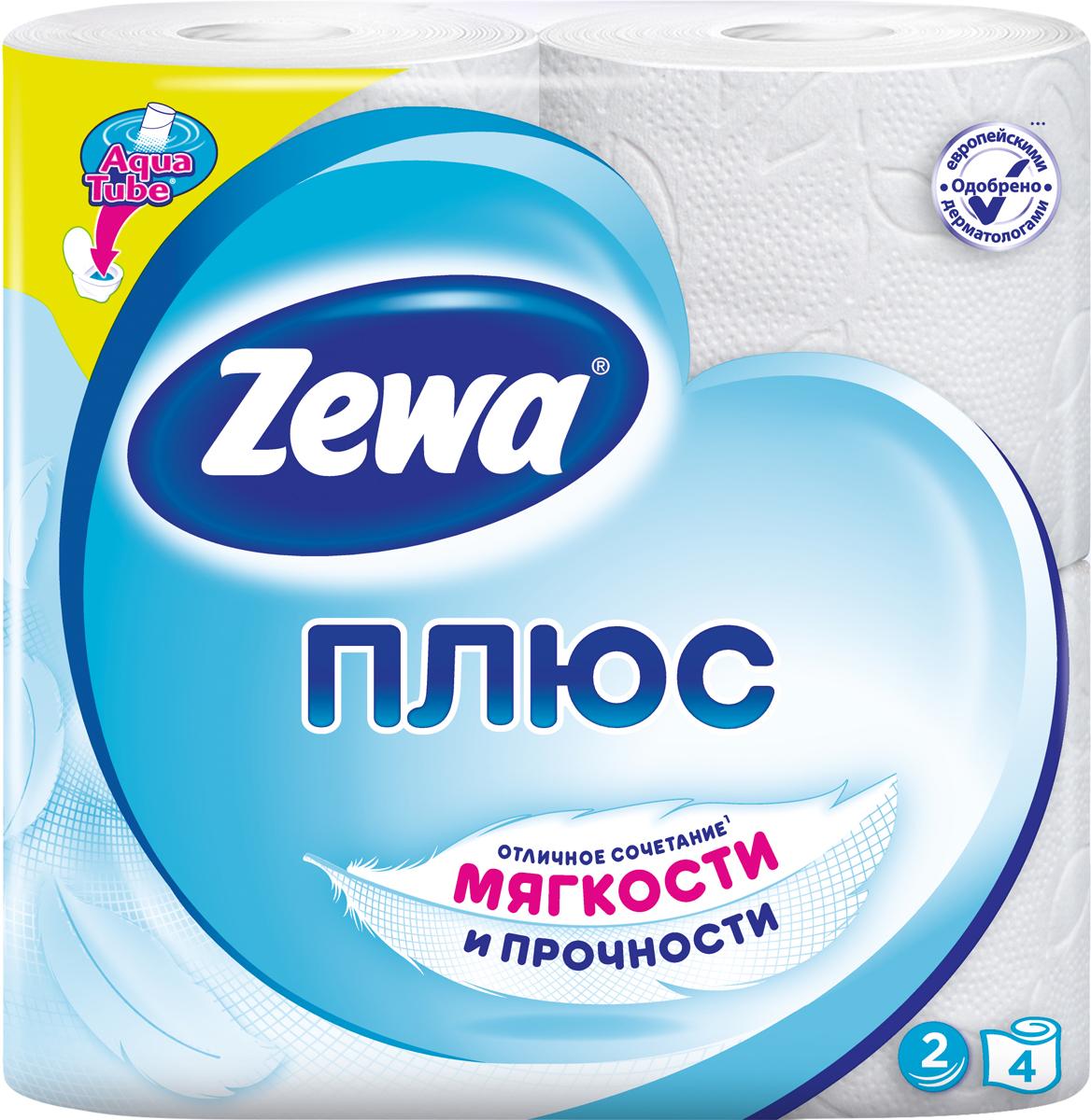 Бумага туалетная Zewa Плюс, 2 слоя, 4 рулона туалетная бумага с анекдотами