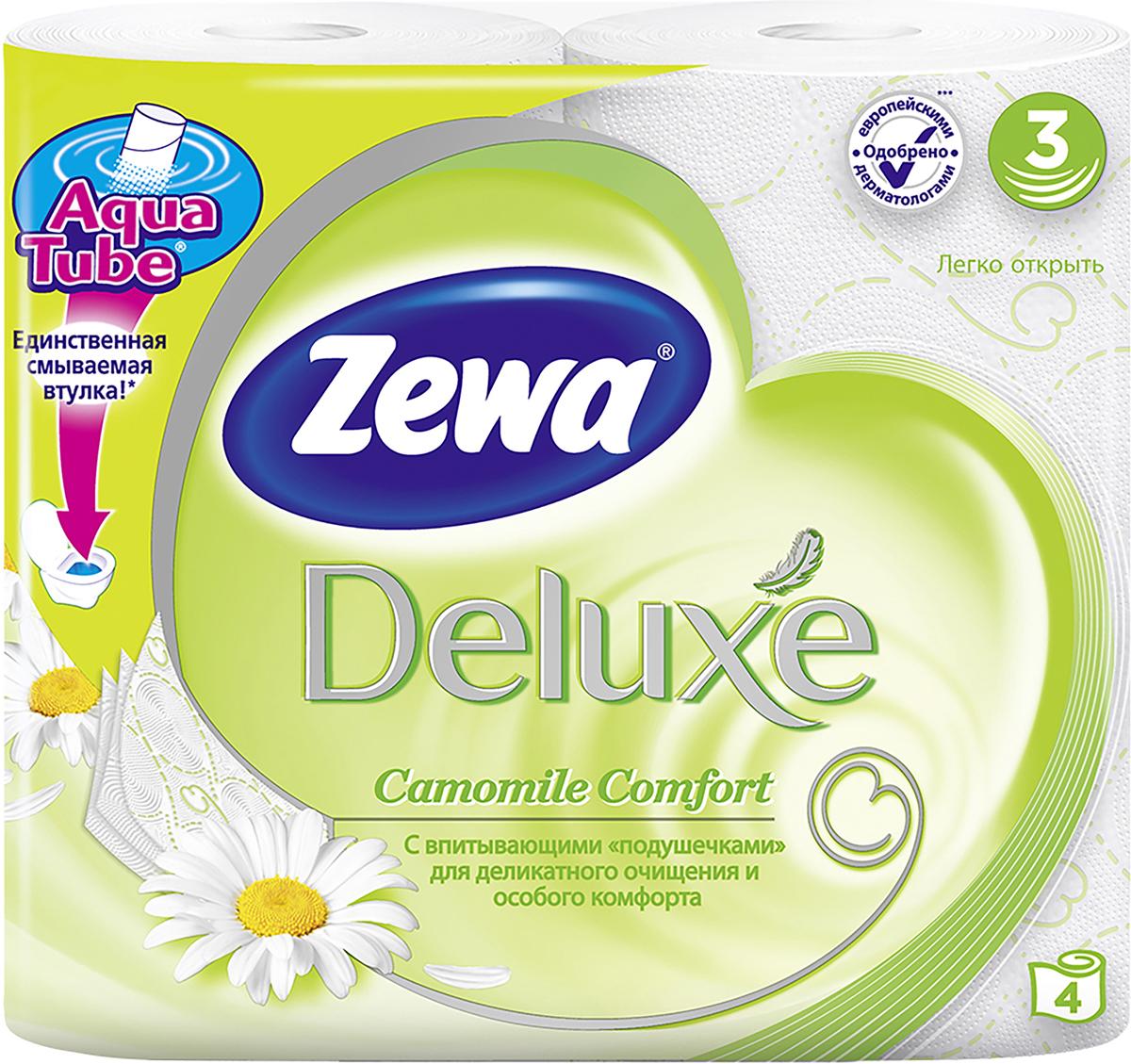 Бумага туалетная Zewa Deluxe. Ромашка, 3 слоя, 4 рулонаУТ000000662Подарите себе удовольствие от ежедневного ухода за собой. Zewa Deluxe с новыми впитывающими «подушечками» деликатно очищает и нежно заботится о вашей коже. Мягкость, забота, комфорт – вашей коже это понравится!Со смываемой втулкой Aqua Tube!Белая 3-х слойная туалетная бумага с ароматом ромашки.4 рулона в упаковке.Состав: целлюлоза.Производство: Россия