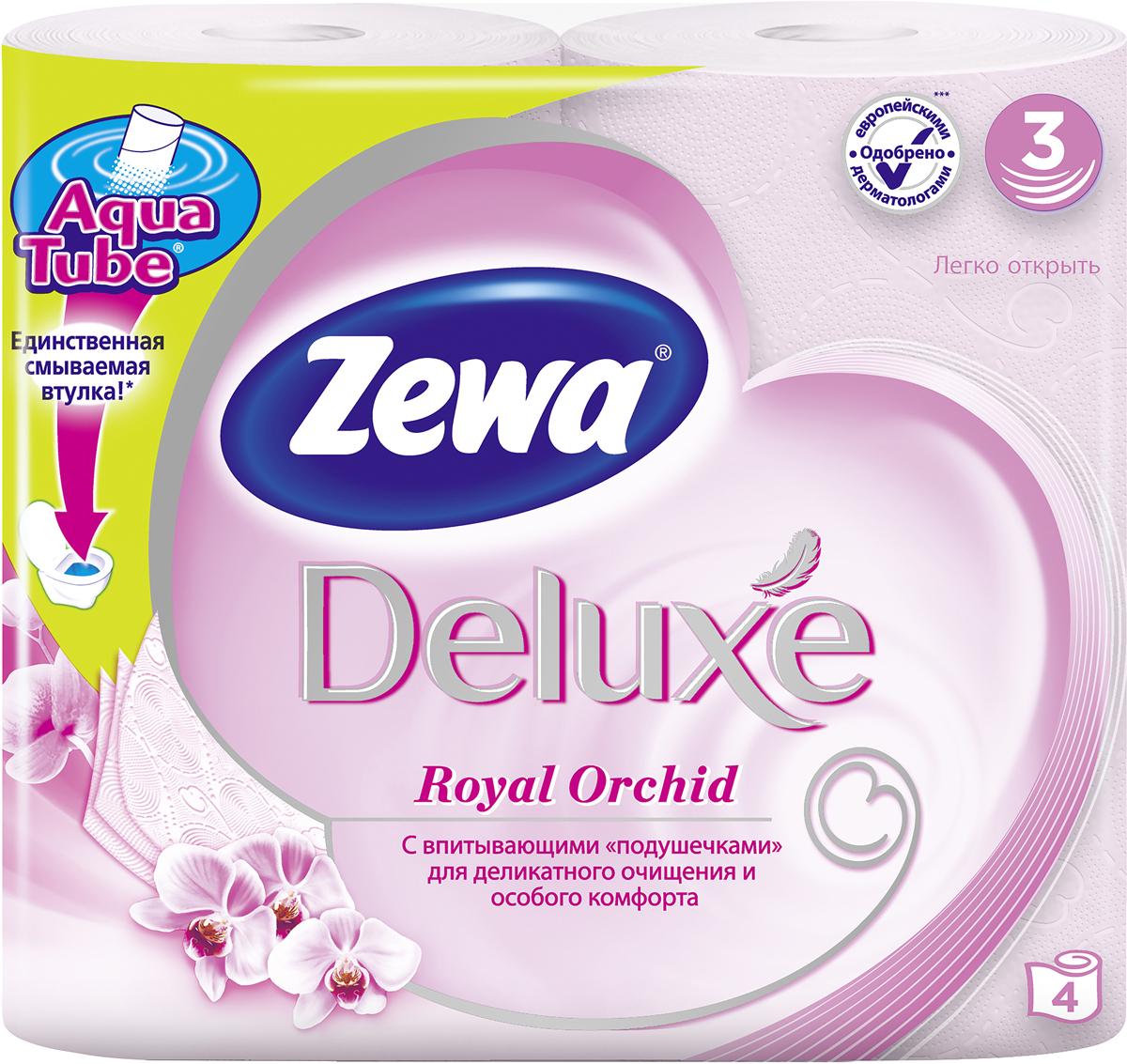 """Подарите себе удовольствие от ежедневного ухода за собой. Розовая 3-х слойная туалетная бумага Zewa """"Deluxe"""" с ароматом орхидеи, смываемой втулкой Aqua Tube и новыми впитывающими """"подушечками"""" деликатно очищает и нежно заботится о вашей коже. Мягкость, забота, комфорт – вашей коже это понравится!"""