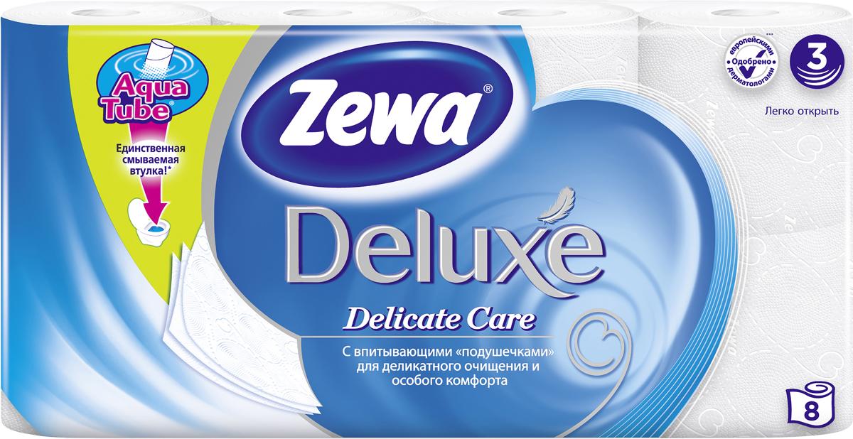 Бумага туалетная Zewa Deluxe, 3 слоя, 8 рулоновУТ000046153Подарите себе удовольствие от ежедневного ухода за собой. Zewa Deluxe с новыми впитывающими «подушечками» деликатно очищает и нежно заботится о вашей коже. Мягкость, Забота, Комфорт – вашей коже это понравится! Сенсация! Со смываемой втулкой Aqua Tube! Белая 3-х слойная туалетная бумага без аромата. 8 рулонов в упаковке. Состав: целлюлоза. Производство: Россия