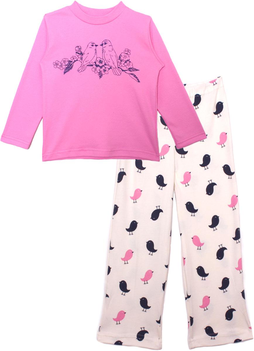 Пижама для девочки КотМарКот, цвет: розовый. 16308. Размер 11616308Детская пижама КотМарКот включает в себя лонгслив и брюки. Пижама изготовлена из натурального хлопка.Лонгслив с длинными рукавами и круглым вырезом горловины оформлен принтом.Свободные брюки с широкой эластичной резинкой оформлены принтом.