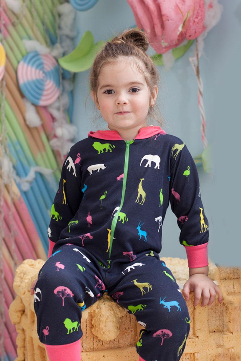 Пижама для девочки КотМарКот, цвет: темно-синий. 16319. Размер 122/12816319