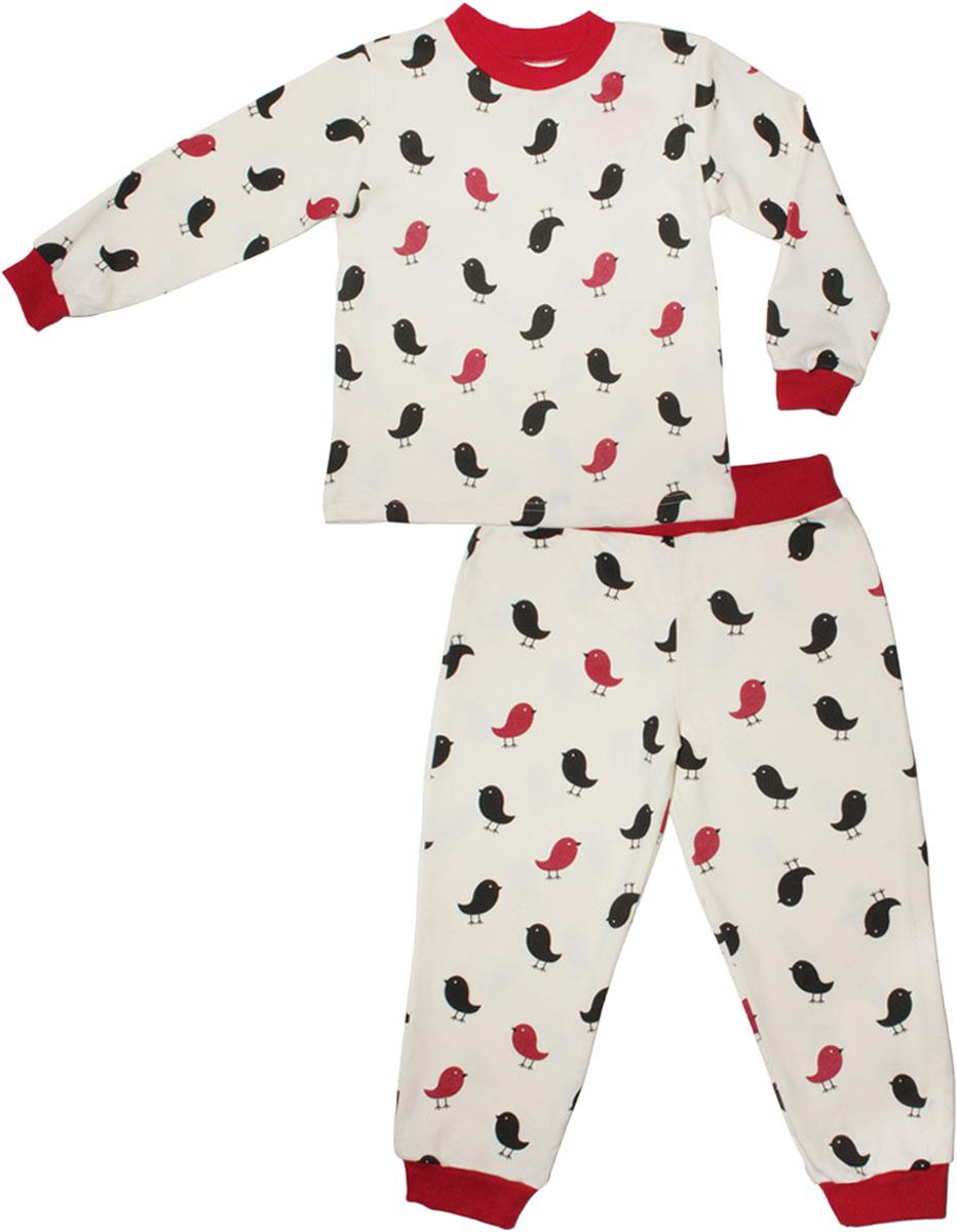 Пижама для девочки КотМарКот, цвет: красный. 16518. Размер 11616518Детская пижама КотМарКот включает в себя лонгслив и брюки. Пижама изготовлена из натурального хлопка.Лонгслив с длинными рукавами и круглым вырезом горловины оформлен принтом.Свободные брюки с широкой эластичной резинкой на поясе дополнены трикотажными манжетами по низу брючин. Модель украшена принтом.
