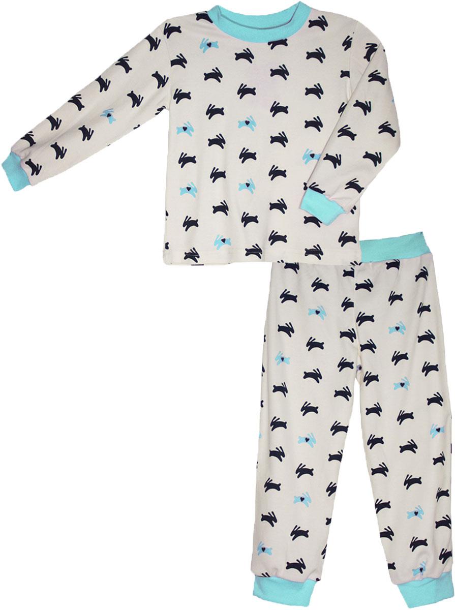 Пижама для девочки КотМарКот, цвет: белый. 16527. Размер 11016527Детская пижама КотМарКот включает в себя лонгслив и брюки. Пижама изготовлена из натурального хлопка.Лонгслив с длинными рукавами и круглым вырезом горловины оформлен принтом.Свободные брюки с широкой эластичной резинкой на поясе дополнены трикотажными манжетами по низу брючин. Модель украшена принтом.