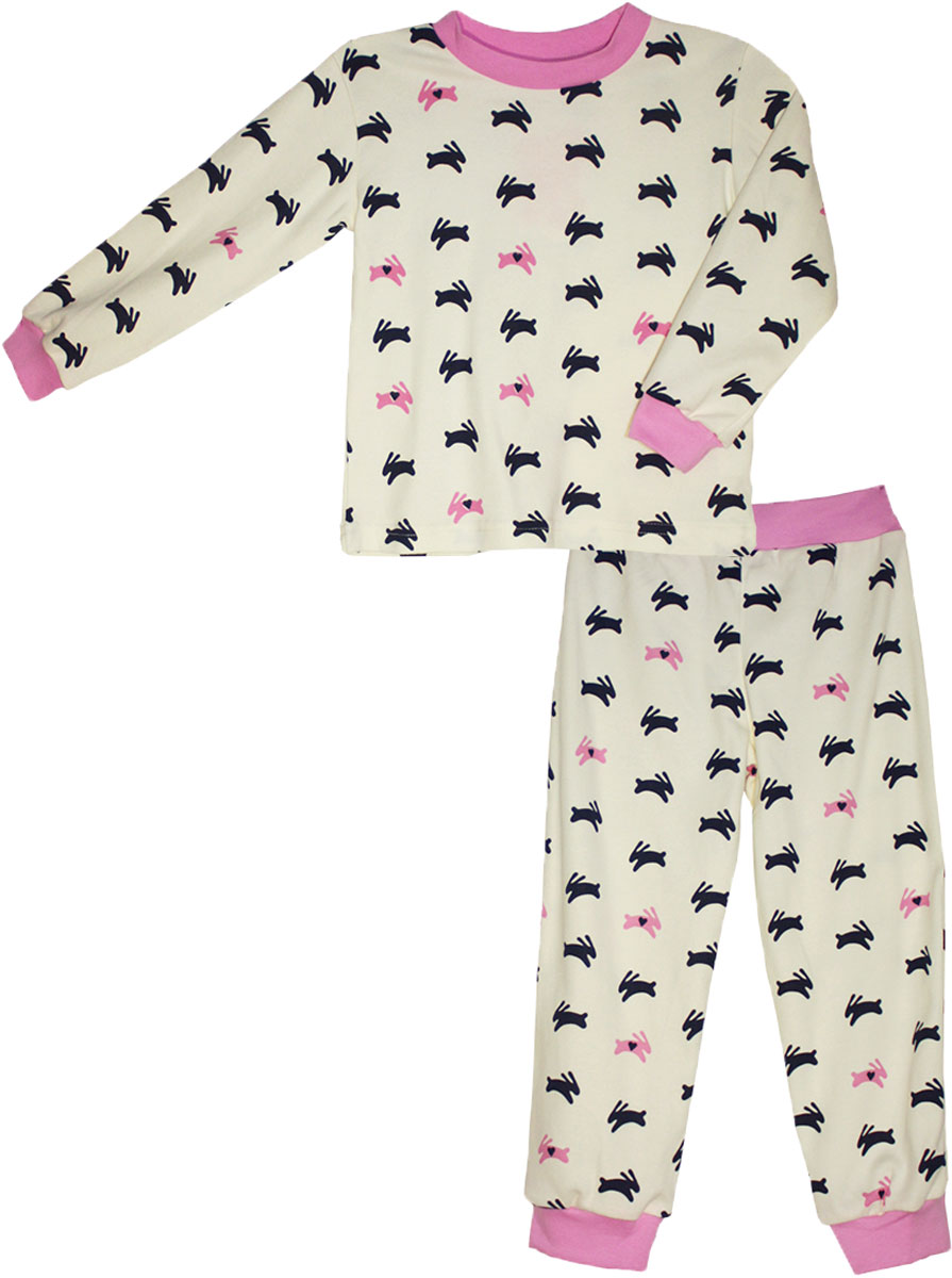 Пижама для девочки КотМарКот, цвет: белый. 16529. Размер 10416529Детская пижама КотМарКот включает в себя лонгслив и брюки. Пижама изготовлена из натурального хлопка.Лонгслив с длинными рукавами и круглым вырезом горловины оформлен принтом.Свободные брюки с широкой эластичной резинкой на поясе дополнены трикотажными манжетами по низу брючин. Модель украшена принтом.