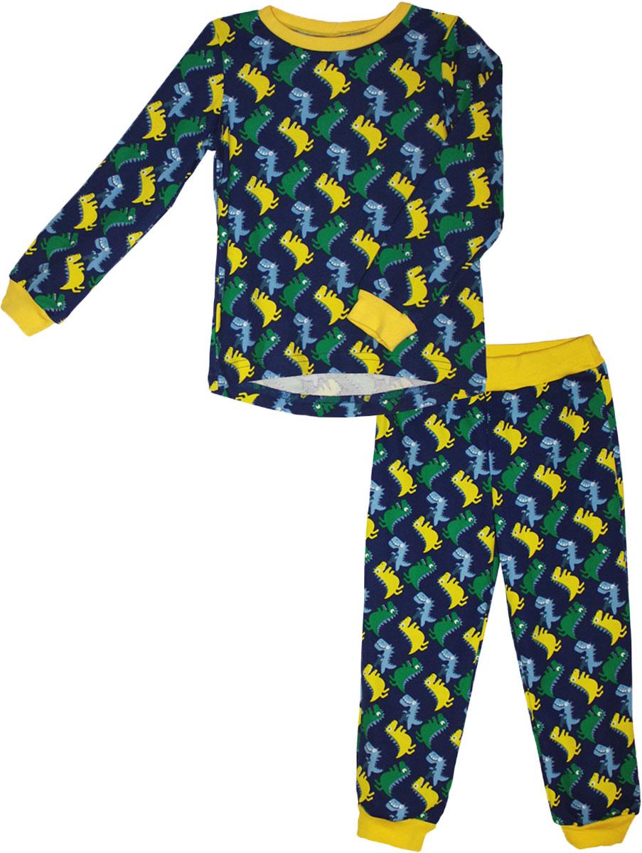 Пижама для девочки КотМарКот, цвет: желтый. 16536. Размер 11016536Детская пижама КотМарКот включает в себя лонгслив и брюки. Пижама изготовлена из натурального хлопка.Лонгслив с длинными рукавами и круглым вырезом горловины оформлен принтом.Свободные брюки с широкой эластичной резинкой на поясе дополнены трикотажными манжетами по низу брючин. Модель украшена принтом.