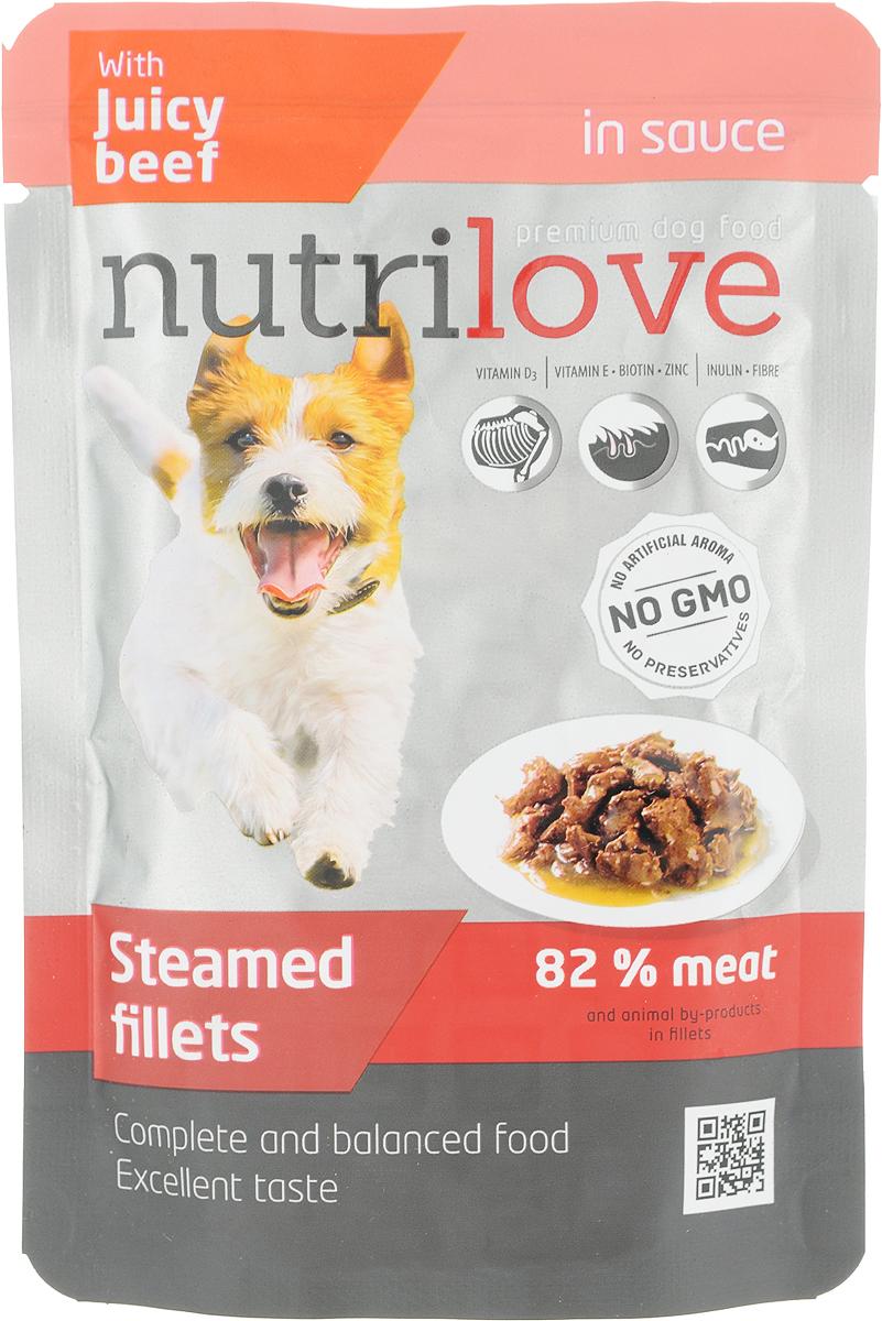 Корм консервированный Nutrilove для собак, с говядиной в соусе, 85 г15516Консервированный корм Nutrilove - полноценное питание для взрослых кошек. Продукты Nutrilove являются инновационными в своем сегменте. Корма изготовлены по самым передовыми технологиями, в том числе, с использованием свежего мяса в качестве одного из основных ингредиентов. Они характеризуются высоким содержанием белка животного происхождения с идеально сбалансированным содержанием жиров, минеральных веществ и витаминов.Товар сертифицирован.