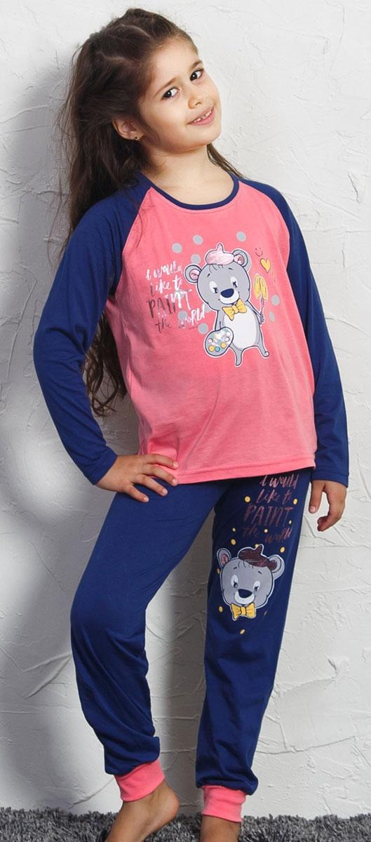 Комплект домашний для девочек Vienetta's Secret Мишка художник: футболка с длинным рукавом, брюки, цвет: розовый. 705162 0000. Размер 122/134