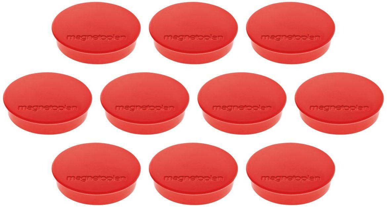 Magnetoplan Standart Набор магнитов красные 10 шт1664206Набор из 10 магнитов Magnetoplan Standart в картонной коробке. Диаметр - 30 мм., сила - 0,8 кг. Магнит сделан из цельного феррита, сверху на котором закреплена пластиковая крышка.Магниты используются для размещения информационных материалов на магнитных досках и флипчартах, а также на любых других магнитных поверхностях.