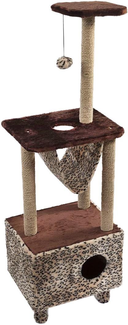 Домик-когтеточка  Велес , квадратный, 3-этажный, с гамаком, цвет: коричневый, 45 х 35 х 140 см - Когтеточки и игровые комплексы