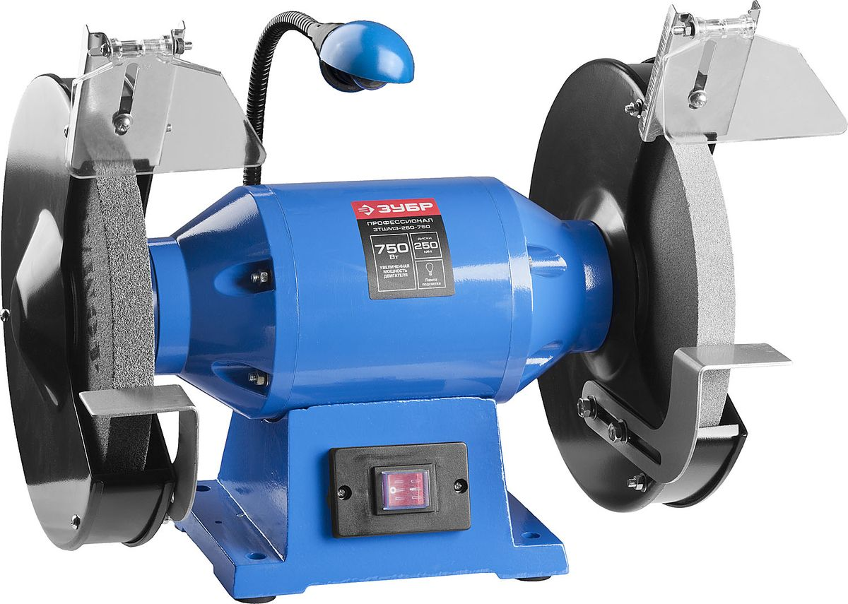 Cтанок точильный двойной ЗУБР Профессионал ЗТШМЭ-250-750, 750 ВтЗТШМЭ-250-750Точильный станок ЗТШМЭ-250-750 улучшенной конструкции, с мощным двигателем и подсветкой рабочего места. Применяется для заточки и сухой шлифовки металлических заготовок и режущего инструмента. Лампа подсветки в комплекте для большей безопасности и удобства в работе. Наиболее популярный посадочный размер дисков. Два диска разной зернистости для любых работ. Асинхронный двигатель, не требующий обслуживания весь срок службы. Прозрачные экраны для защиты оператора от продуктов обработки. Пылезащищенный выключатель для беспроблемной эксплуатации. Возможность крепления к опорной поверхности. Регулируемый упор для инструмента.В комплект поставки входит:Станок точильный - 1 шт.Камень точильный (установлен) - 2 шт.Защитный экран - 2 компл.Упор - 2 компл.Лампа - 1 шт.Руководство по эксплуатации - 1 экз.Cтанок точильный двойной, ЗУБР Профессионал ЗТШМЭ-250-750, лампа подсветки, D250х25хd32 мм, 750 Вт