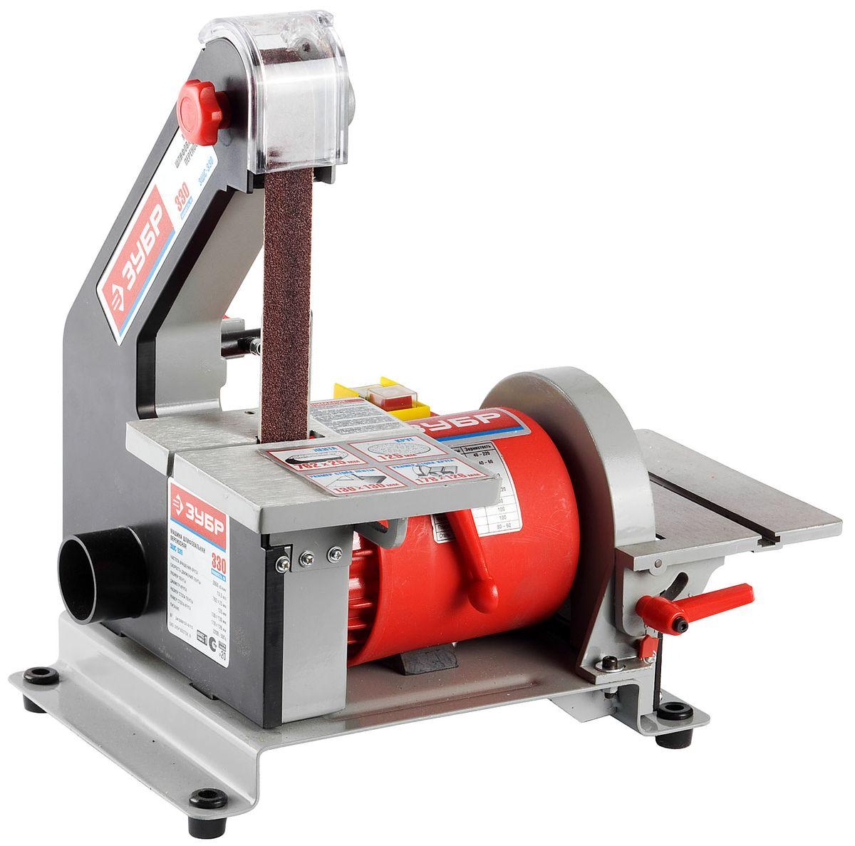 Станок шлифовальный ЗУБР ЗШС-330, лента 762 x 25 мм, диск 125 мм, 330 ВтЗШС-330Машина шлифовальная переносная предназначена для обработки деревянных заготовок с помощью гибких абразивных материалов. Два шлифовальных инструмента - лента и круг - позволяют обрабатывать любые заготовки, а также, не меняя шлифовального материала, производить различные виды шлифования. Электромагнитный выключатель, предотвращающий случайное включение при восстановлении напряжения. Регулируемый наклон рабочих столов в сочетании с произвольным углом подачи заготовки позволяют обрабатывать её в любой заданной плоскости.В комплект поставки входит:Машина шлифовальная - 1 шт.Стол рабочий - 2 шт.Рукоятка затяжки - 3 шт.Опора резиновая - 4 шт.Патрубок пылеотводный - 2 шт.Упор угловой - 1 шт.Ключ имбусовый - 2 шт.Руководство по эксплуатации - 1 экз.Станок шлифовальный, ЗУБР ЗШС-330, лента 762x25 мм, диск 125 мм, 2950 об/мин, 330 Вт